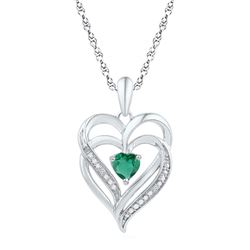 Sterling Silver Round Lab-Created Emerald Heart Pendant 5/8 Cttw