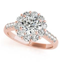 2.75 ctw Certified VS/SI Diamond Solitaire Halo Ring 14k Rose Gold