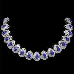 121.42 ctw Sapphire & Diamond Victorian Necklace 14K White Gold