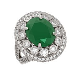 8.76 ctw Certified Emerald & Diamond Victorian Ring 14K White Gold