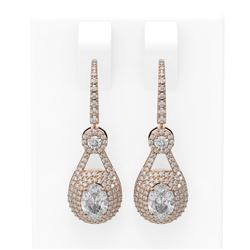 3.99 ctw Oval Diamond Earrings 18K Rose Gold