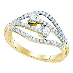 14kt Yellow Gold Round Diamond 2-stone Bridal Wedding Engagement Ring 1/2 Cttw
