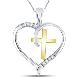 Sterling Silver Round Diamond Heart & Cross Two-tone Pendant 1/20 Cttw