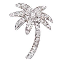 14kt White Gold Round Diamond Palm Tree Nautical Beach Pendant 1/4 Cttw
