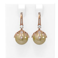 1 ctw Diamond & Pearl Earrings 18K Rose Gold