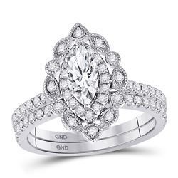 14kt White Gold Marquise Diamond Bridal Wedding Engagement Ring Band Set 1-1/4 Cttw