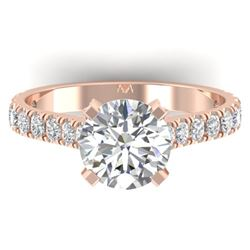 2.4 ctw Certified VS/SI Diamond Solitaire Art Deco Ring 14k Rose Gold
