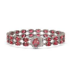 26.92 ctw Tourmaline & Diamond Bracelet 14K White Gold