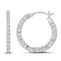 14kt White Gold Round Diamond Inside Outside Hoop Earrings 2.00 Cttw