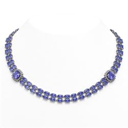 37.96 ctw Tanzanite & Diamond Necklace 14K White Gold