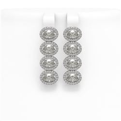 5.33 ctw Oval Cut Diamond Micro Pave Earrings 18K White Gold
