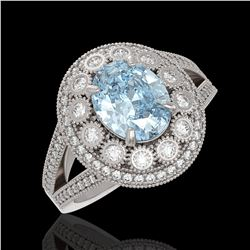 3.85 ctw Certified Aquamarine & Diamond Victorian Ring 14K White Gold