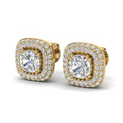 2.16 ctw Micro Pave VS/SI Diamond Earrings Halo 18k Yellow Gold