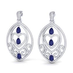 7 ctw Tanzanite & Micro Pave Diamond Heart Earrings 18k White Gold