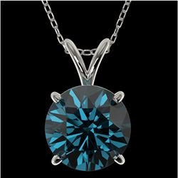 2.04 ctw Certified Intense Blue Diamond Necklace 10k White Gold