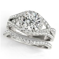 1.4 ctw Certified VS/SI Diamond 2pc Set Solitaire Halo 14k White Gold
