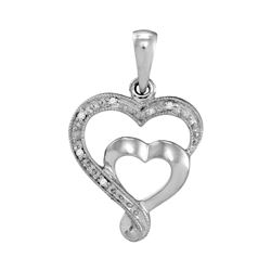 10k White Gold Diamond-accent Double Heart Pendant .01 Cttw