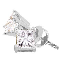 14kt White Gold Unisex Princess Diamond Solitaire Studs Earrings 1/5 Cttw