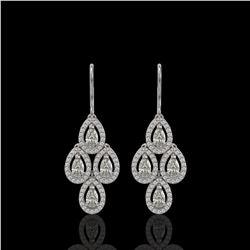 3.07 ctw Pear Cut Diamond Micro Pave Earrings 18K White Gold