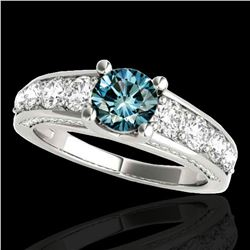 2.55 ctw SI Certified Fancy Blue Diamond Solitaire Ring 10k White Gold