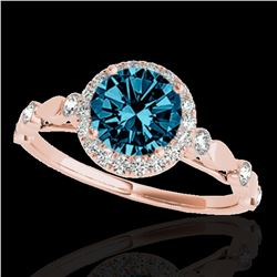 1.25 ctw SI Certified Fancy Blue Diamond Halo Ring 10k Rose Gold