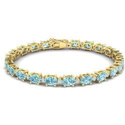 25.8 ctw Sky Blue Topaz & VS/SI Diamond Eternity Bracelet 10k Yellow Gold