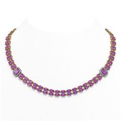 30.47 ctw Amethyst & Diamond Necklace 14K Yellow Gold