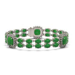 15.79 ctw Jade & Diamond Bracelet 14K White Gold