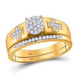 10kt Yellow Gold Diamond Cluster Cross Bridal Wedding Engagement Ring Band Set 1/4 Cttw
