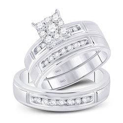 10kt White Gold His Hers Round Diamond Cluster Matching Bridal Wedding Ring Band Set 1/2 Cttw