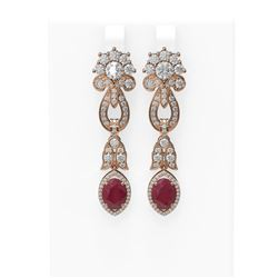 8.66 ctw Ruby & Diamond Earrings 18K Rose Gold