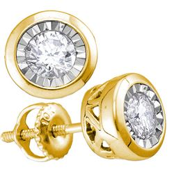 10kt Yellow Gold Round Diamond Solitaire Stud Earrings 1/2 Cttw