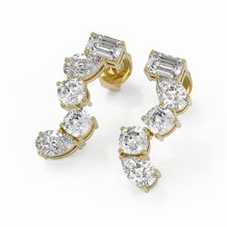 2.7 ctw Mix Cut Diamonds Designer Earrings 18K Yellow Gold