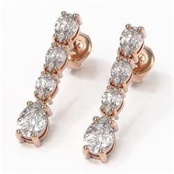 3.78 ctw Pear Diamond Earrings 18K Rose Gold