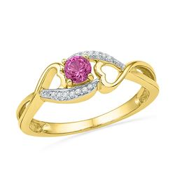 10kt Yellow Gold Round Lab-Created Pink Sapphire Diamond Heart Ring 1/20 Cttw