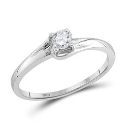 10kt White Gold Round Diamond Solitaire Promise Bridal Ring 1/8 Cttw