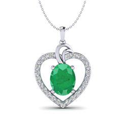 4 ctw Emerald & VS/SI Diamond Designer Heart Necklace 14k White Gold