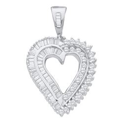 10kt White Gold Round Diamond Heart Pendant 7/8 Cttw