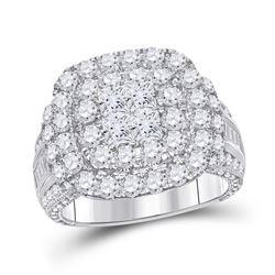 14kt White Gold Princess Diamond Cluster Bridal Wedding Engagement Ring 3-1/2 Cttw