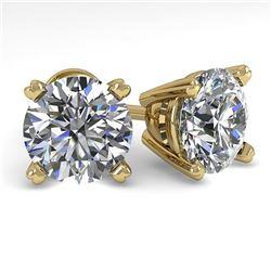 3 ctw Certified VS/SI Diamond Stud Earrings 14K Yellow Gold