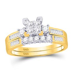 10kt Yellow Gold Princess Diamond Bridal Wedding Engagement Ring Band Set 1/2 Cttw