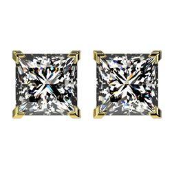 2.50 ctw VS/SI Quality Princess Diamond Stud Earrings 10k Yellow Gold