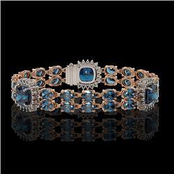 19.57 ctw London Topaz & Diamond Bracelet 14K Rose Gold