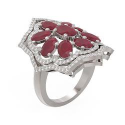 7.38 ctw Ruby & Diamond Ring 18K White Gold