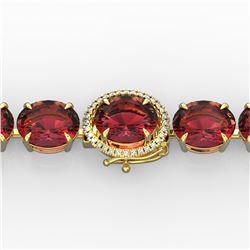 65 ctw Pink Tourmaline & Micro VS/SI Diamond Bracelet 14k Yellow Gold