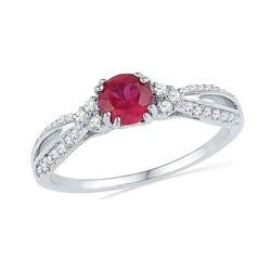10kt White Gold Round Lab-Created Ruby Solitaire Diamond Split-shank Ring 7/8 Cttw