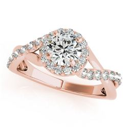 0.75 ctw Certified VS/SI Diamond Solitaire Halo Ring 14k Rose Gold