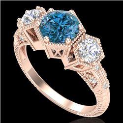 1.66 ctw Intense Blue Diamond Art Deco 3 Stone Ring 18k Rose Gold