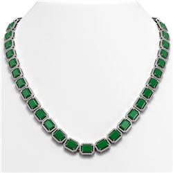 58.59 ctw Emerald & Diamond Micro Pave Halo Necklace 10k White Gold