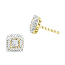 10kt Yellow Gold Round Diamond Square Cluster Screwback Earrings 1/2 Cttw